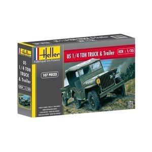 HELLER 81105 US 1/4 TON TRUCK & TRAILER 1/35